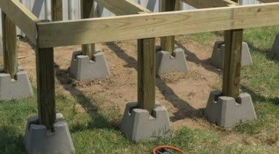 elevated outdoor decking foundation