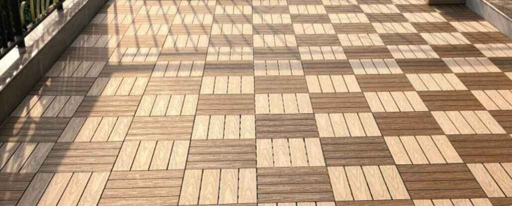 decking tiles on grass