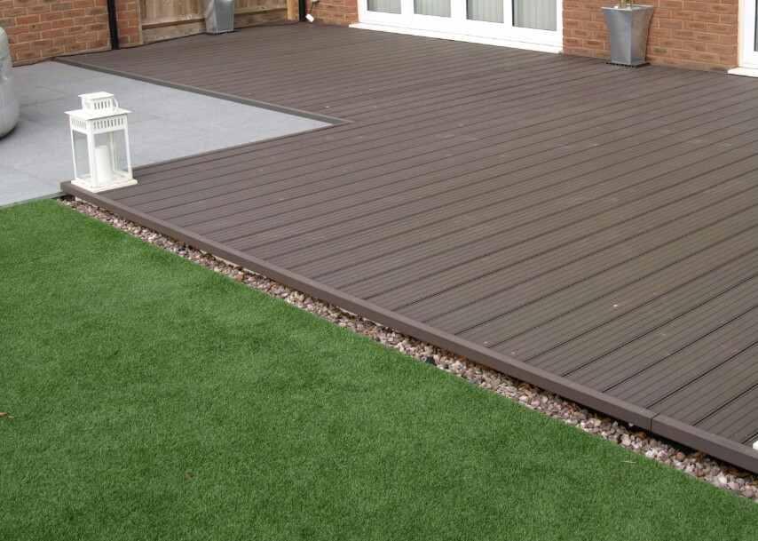 a flush outdoor ground level decking