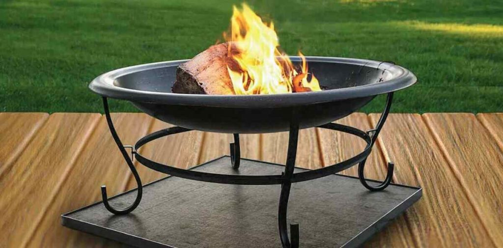 Fire pit on decking