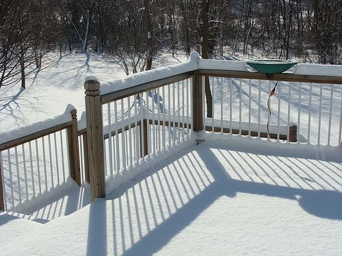remove snow from composite decking